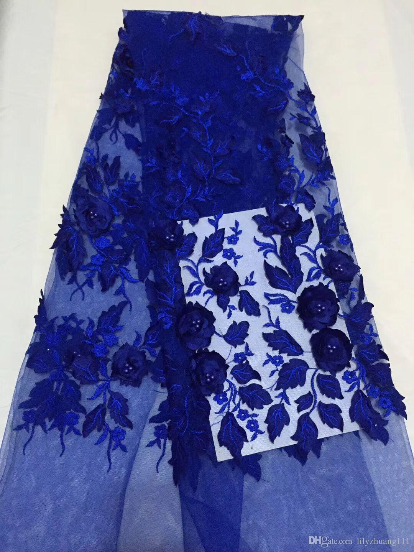 Frete grátis! Tecido De Renda Guipure de alta Qualidade / Africano Cord Lace / Tule tecido de renda Com contas para a Festa AMY0925-A