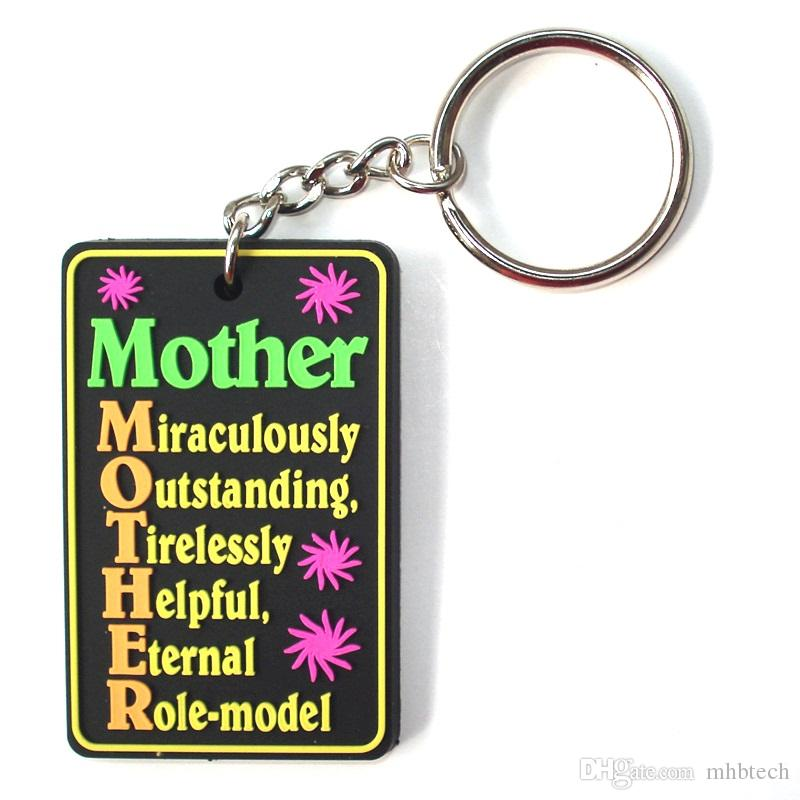 2016 HOT Selling Key Chains Wholesale Custom 3D Cute Cartoon Mother's Day  Logo Key Tag Soft PVC Rubber