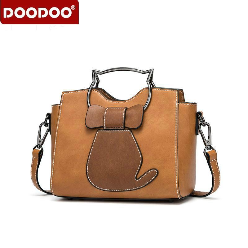 05ab849bf1a3b DOODOO Brand Women Handbag Tote Bag Female Shoulder Crossbody Bags Ladies  Pu Leather Top Handle Messenger Bags Kitten Appearance Black Handbag Purses  ...
