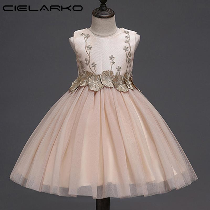887cb7e3ad2e 2019 Cielarko Girls Flower Dress Baby Birthday Party Dresses Elegant ...