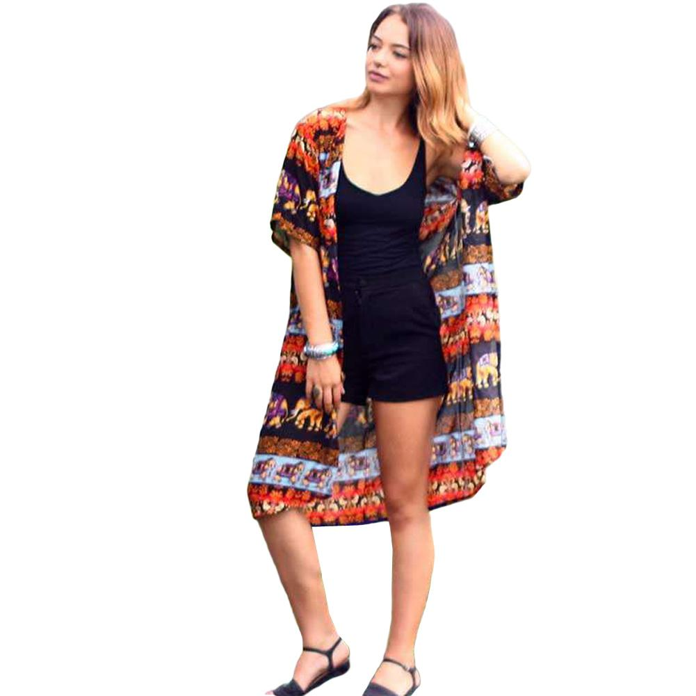 92e698ba879cc 2019 Women Chiffon Blouse Top Summer Kimono Cardigan Elephant Print Boho  Loose Beach Cover Up Outerwear Orange Robe De Plage 2019 From Lixlon07