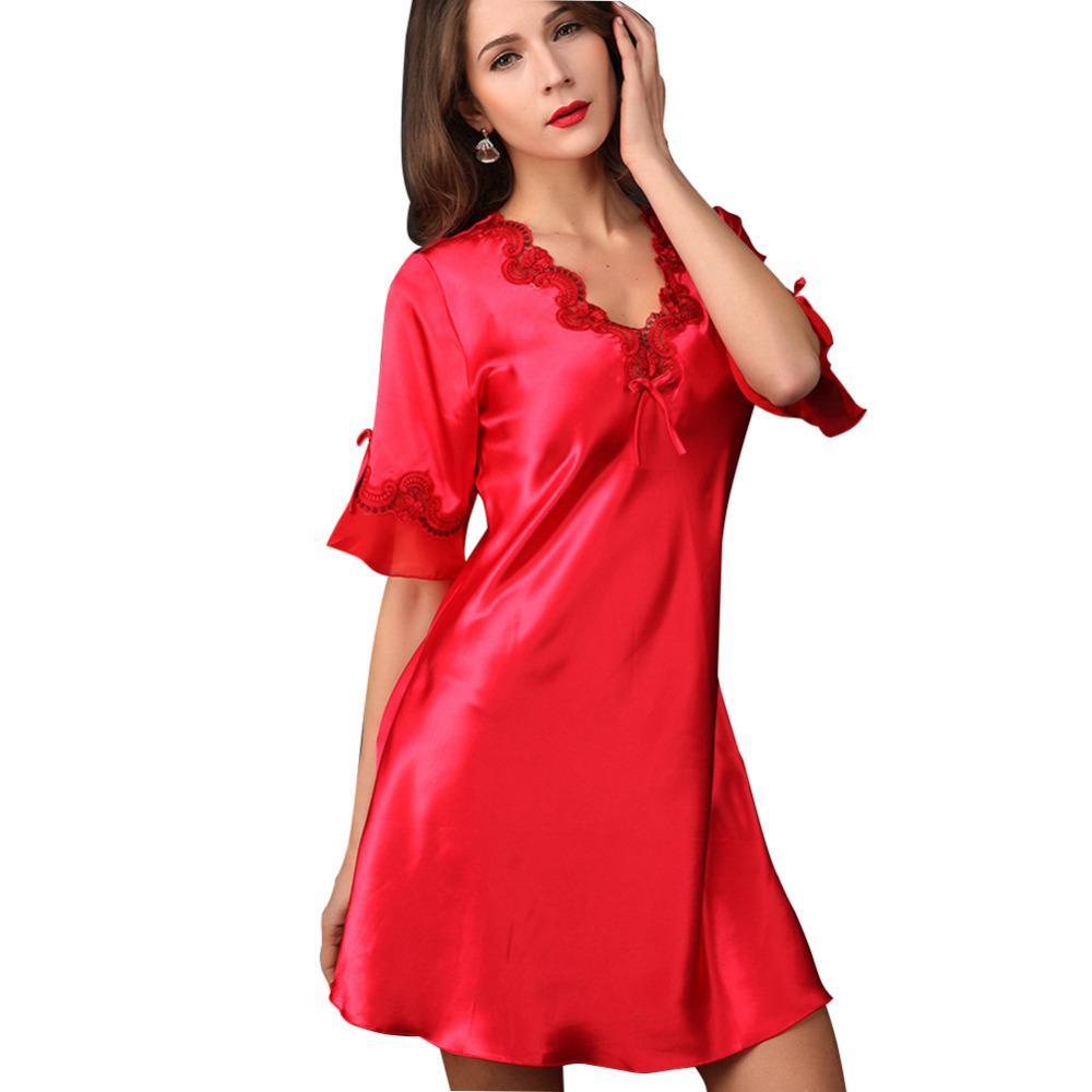 35bd4f8e3 Compre Mulheres Grávidas Cetim Sleepwear Camisola De Seda Meia Manga ...