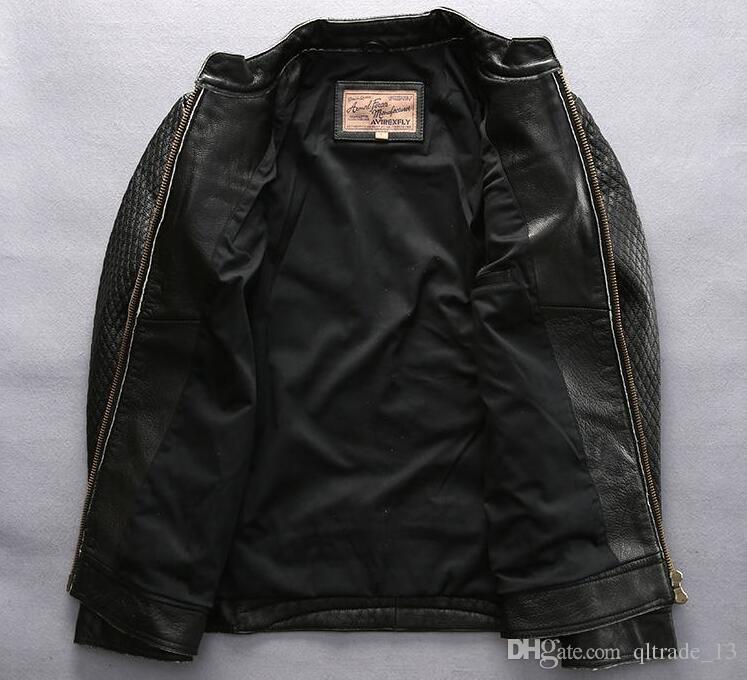 AVIREXFLY homens jaquetas de couro preto do vintage com cabeça de caveira de pêssego Amor bordado gola vaca jaqueta de motocicleta