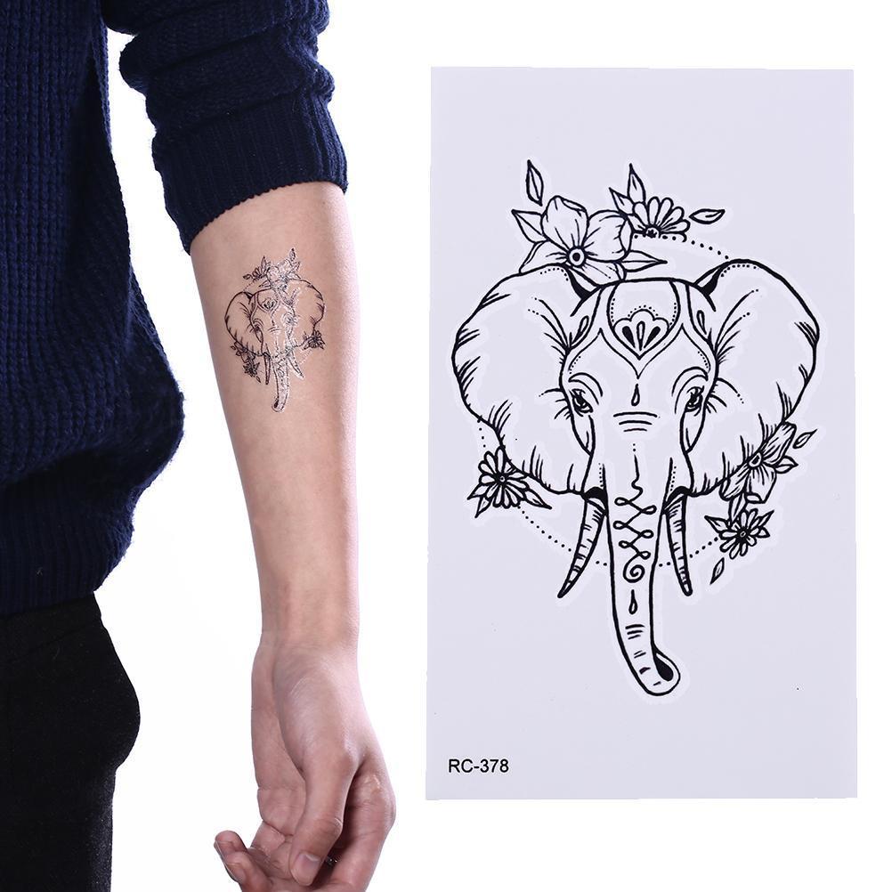 Elefante Destello Temporal Tatuaje Pegatinas Temporal Impermeable