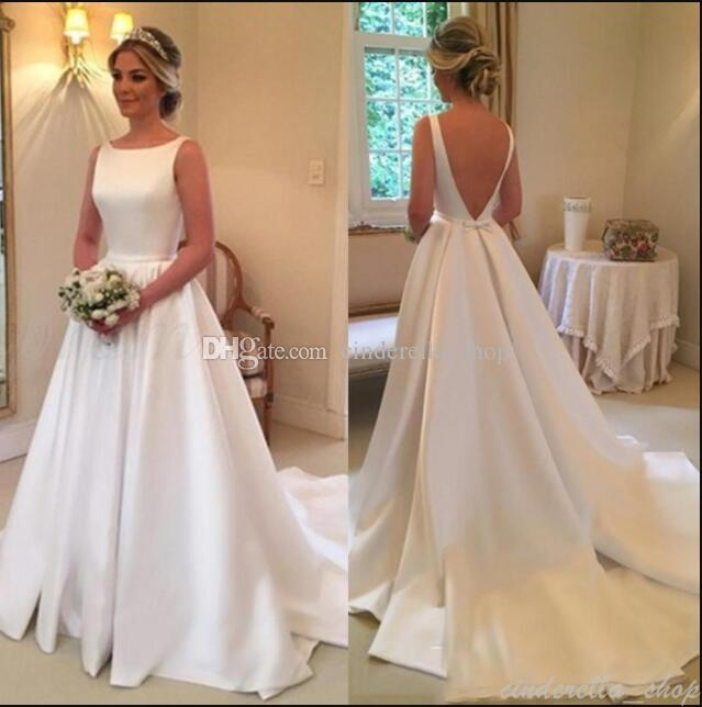 Discount Simple Western Wedding Dresses 2018 A Line Backless Sweep ...