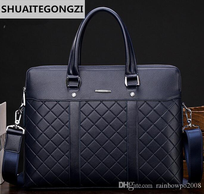 Factory Wholesale Brand Men S Bags Business Embossed Men Briefcase Fashion  Double Leather Handbags Gentleman Plaid Handbags Plaid Walle Mens Leather  Satchel ... c311dd39ddee2