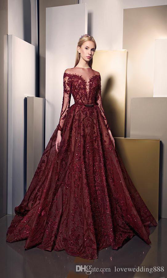 2018 Modern Stylish Burgundy Lace Prom Dresses Long Sleeve Puffy