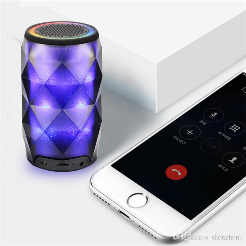 Crystal Can Diamond Speaker Bluetooth Sette colori cambia altoparlante wireless portatile esterno Subwoofer Supporto TF Card Mic MIS181