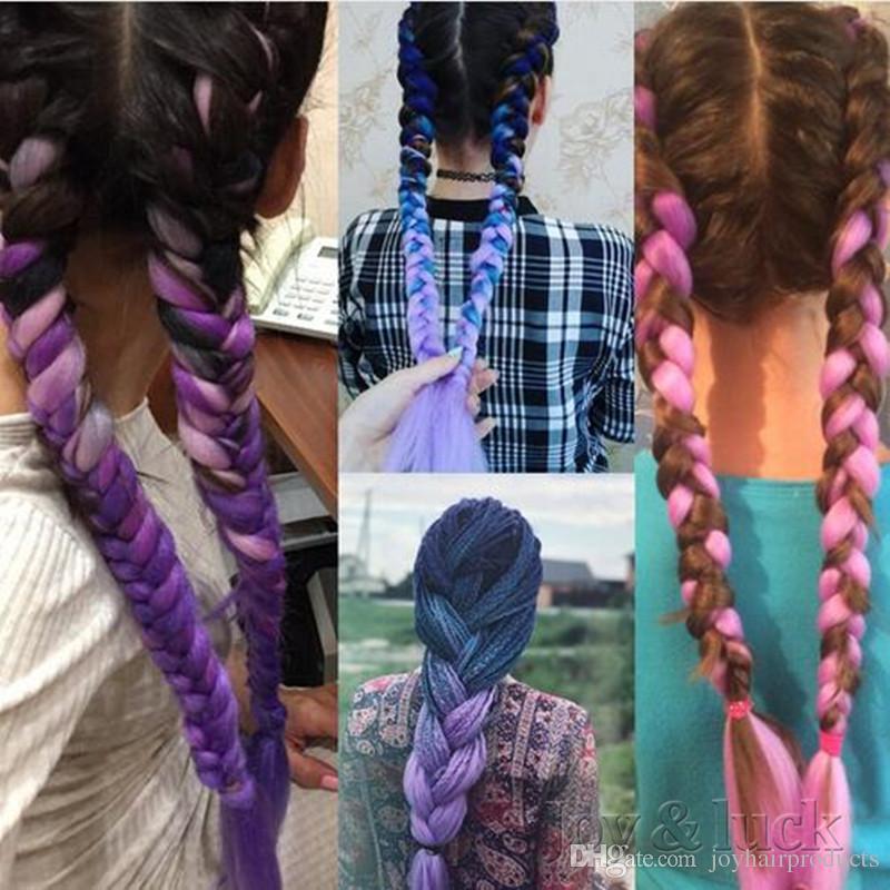 Wholesale 24Inch Expression Braid DIY Kanekalon Expression Braiding Hair Synthetic Crochet Box Braids Hair Jumbo