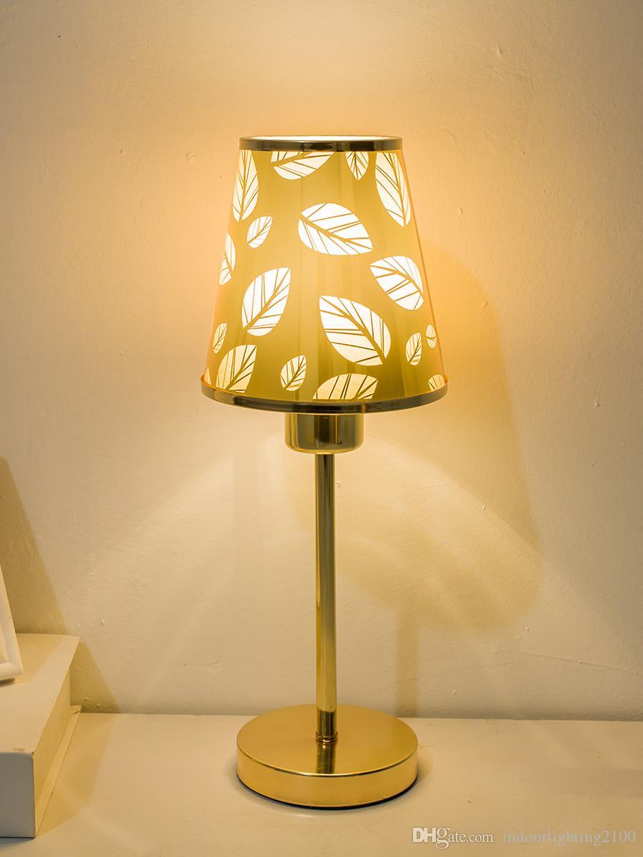 Éclairage Or Lampe Gros Lecture L Europe Style Jour De Base Led Mode Métal Veilleuse En À Côté Table Abat Livraison Feuille BoCxrde