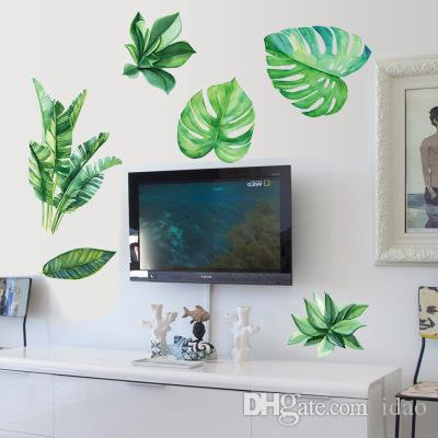 Wholesale Green Plant Wall Stickers Wallpaper Wall Picture Art Vintage Room Home Decor Kitchen Accessories Household Craft Suppllies