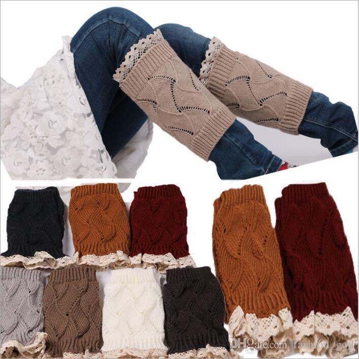 Lace Boot Cuffs Women Knit Fashion Leg Warmers Crochet Stretch Trim Toppers Short Boot Socks Wedding Bride Chirstmas Foot Cover Socks B3730
