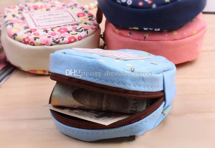 Women coin Purse Storage Flower Floral Coin Round Canvas Zipper Money Bag Cute Wallet Mini Purse Coin Card Holder Gift