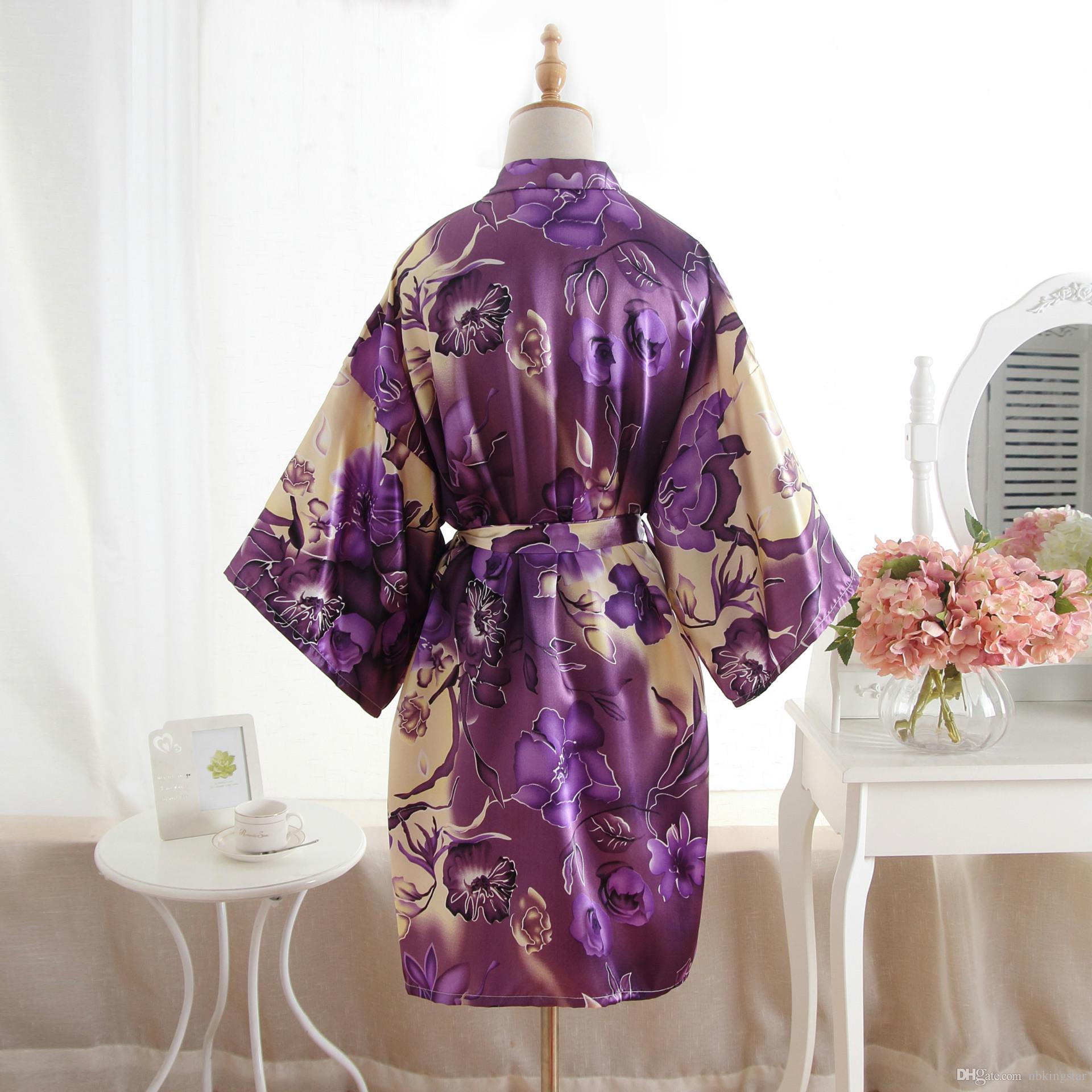 Women Silk Satin Floral Wedding Bride Bridesmaid Robes Lady Floral Bathrobe Flower Print Kimono Dressing Night Gown
