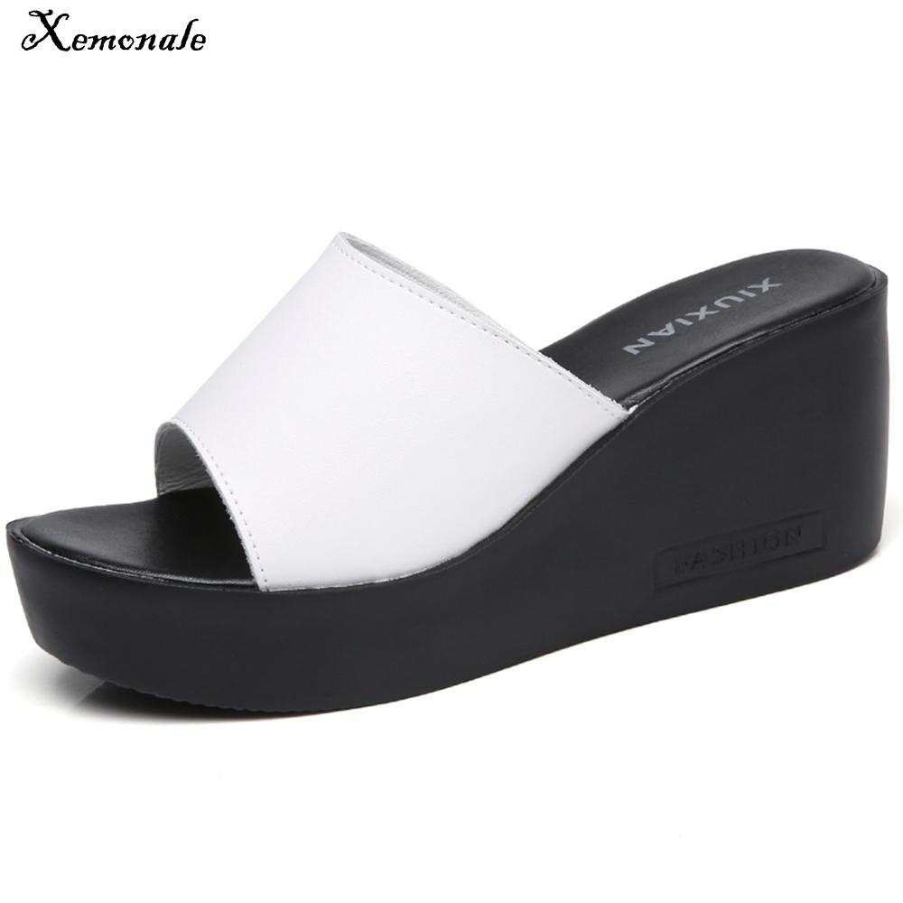 bef4395f87ca2 Xemonale 2018 Summer Women Slippers Mules Shoes Casual Wedges Platform  Sandals Shoes Women Leather Thick Sole Flip Flops Online with  33.52 Piece  on Army- s ...