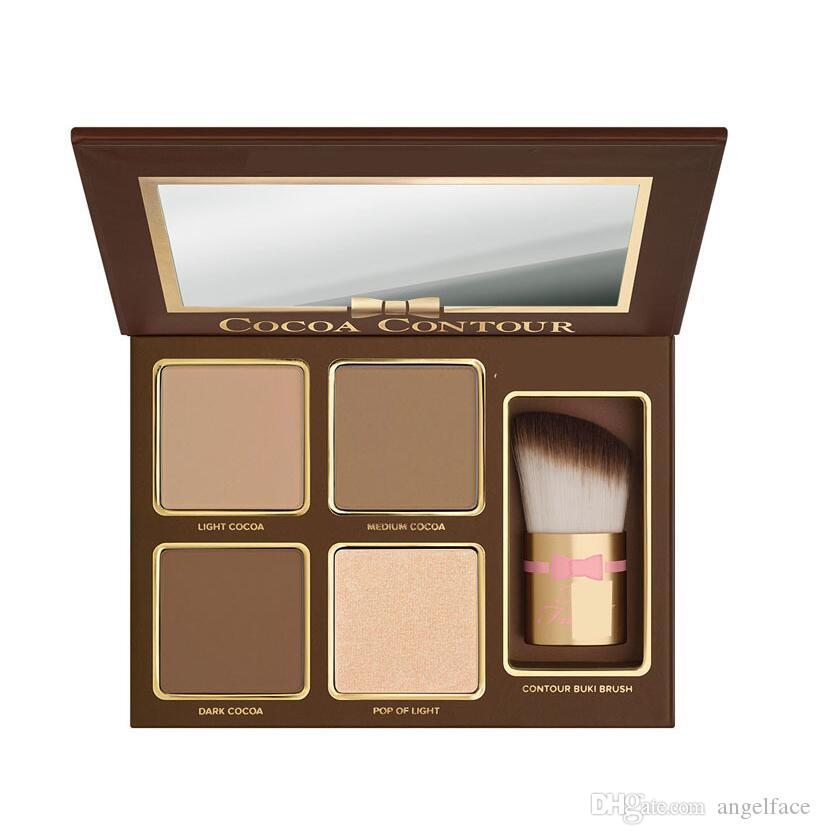Brand COCOA Contour Kit Bronzers Highlighters Powder Palette Nude Color Shimmer Stick Cosmetics Chocolate Eyeshadow with Brush