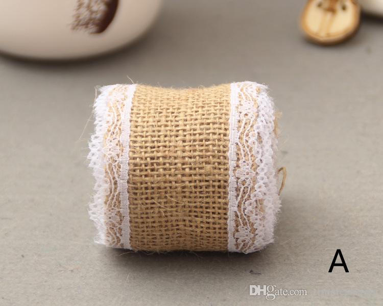 Linen Table Flag Banner Lace Table Runner Burlap Jute Table Runner Gift Packing Ribbon Roll Rustic Style Wedding Decoration