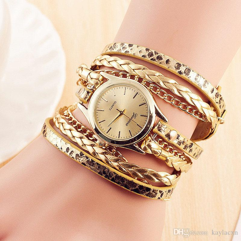 3895f94eb29 New Ladies Watches Fashion Personalized Gold Snake Bracelet Watch ...
