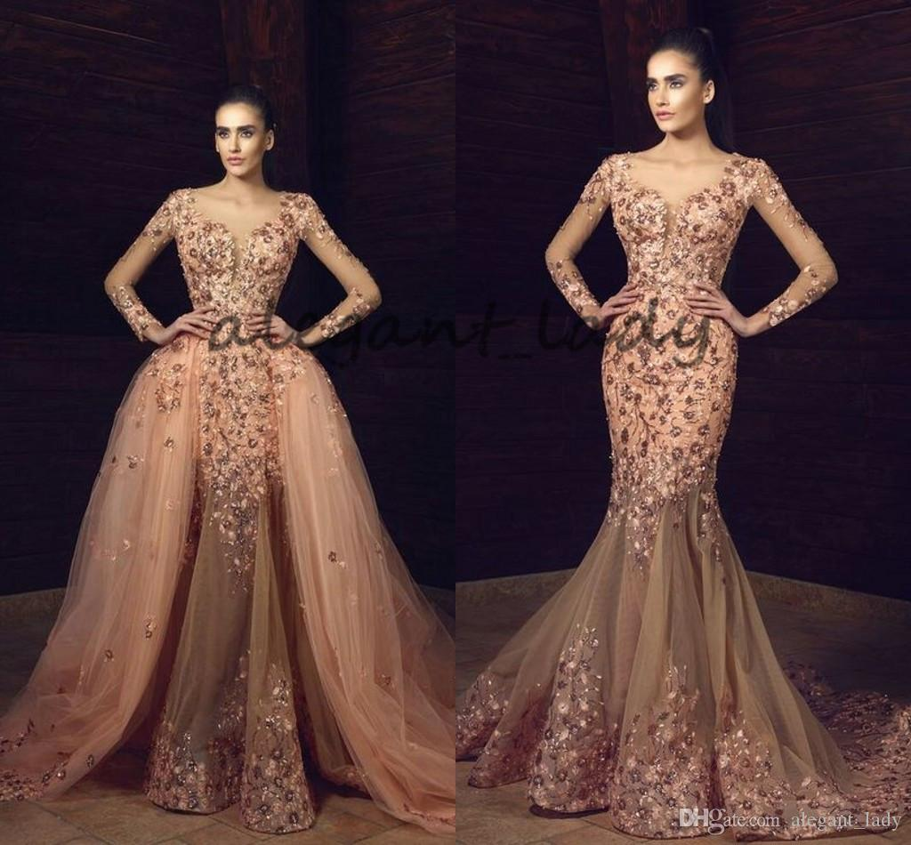 a9bba076f451 Tony Chaaya 2018 3D Floral Crystal Mermaid Prom Pageant Dresses With  Detachable Train Modest Long Sleeve Lace Occasion Evening Wear Dress Long  Prom Dresses ...