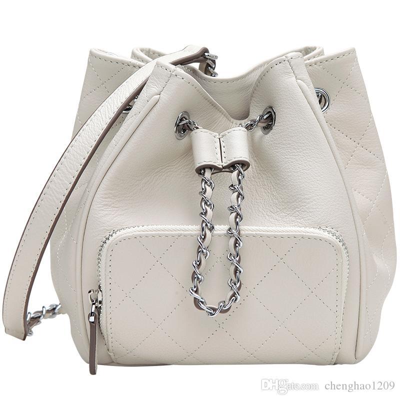 Women Classic Handbags Genuine Leather Cowhide Bag Lady Bags Chains ... b8c87554d5bce