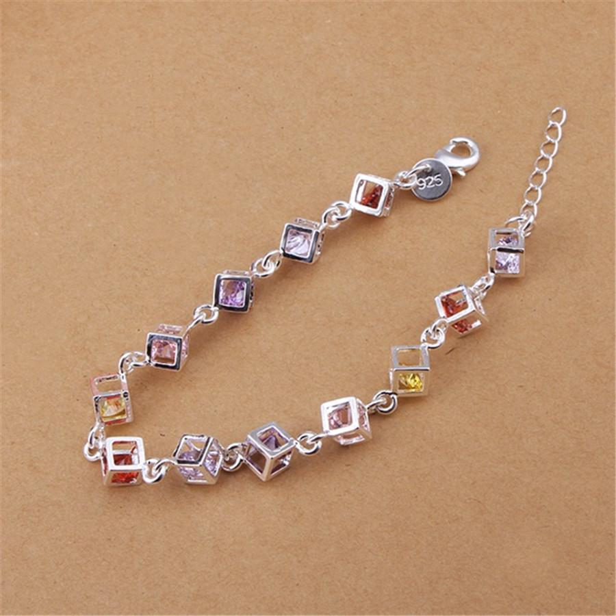 Hermosa plata chapado en color pulseras de cristal nuevos anuncios de alta calidad de joyería de moda regalos de Navidad joyería de la boda