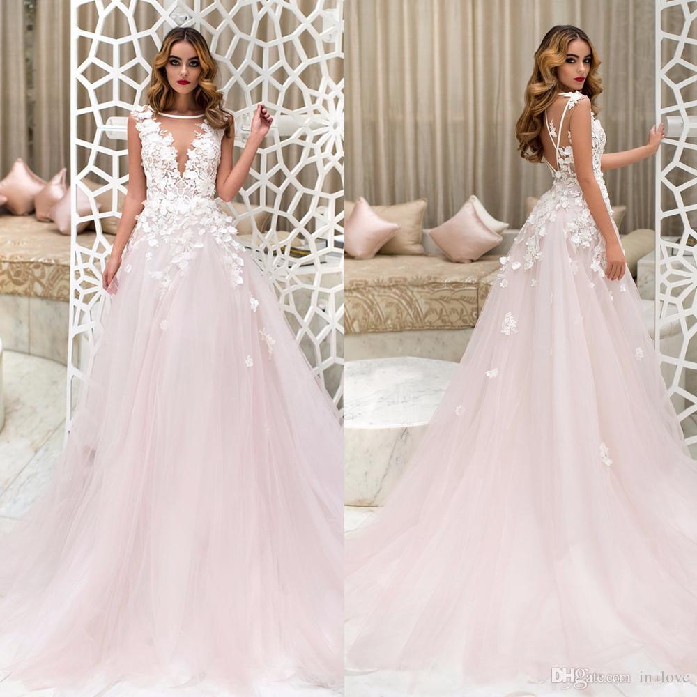 Großhandel Erröten Rosa Hochzeitskleid Backless Sheer Neck 11D Blumen  Applikationen Spitze Tüll A Linie Sweep Zug Hochzeit Brautkleider Nach Maß  Von