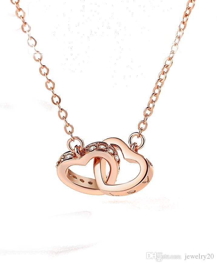 Wholesale 2018 round double love heart necklace rose gold female wholesale 2018 round double love heart necklace rose gold female sterling silver clavicle chain heart pendant gift pendants gold necklace for women from aloadofball Image collections