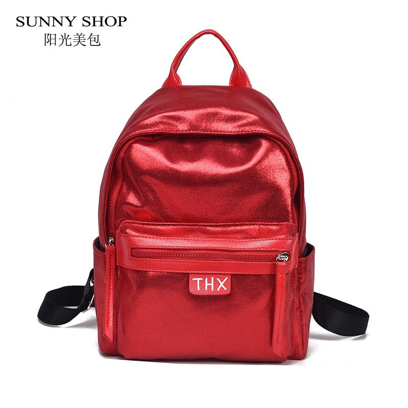 SUNNY SHOP Casual Shiny Nylon Women Backpack Women Large Capacity A4  Available College Rucksack School Bag For Girls Pink Silver Backpacks For  Teens Cheap ... 3aa4d7c076975