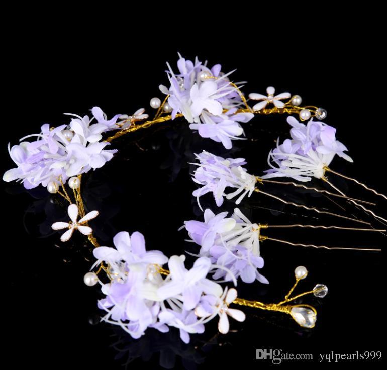 Bob çiçekler ile yeni gelin çiçek kız Nedime Düğün headdress headdress çiçek kafa yüzük nokta