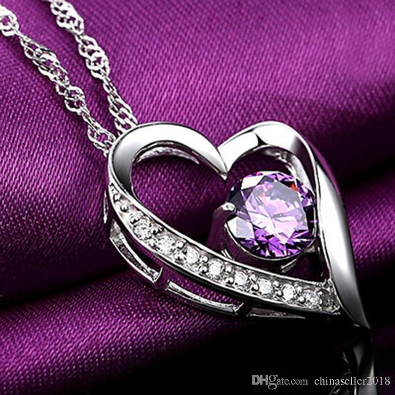 Cristallo austriaco bianco Diamanti viola Collana con ciondolo a forma di cuore con ciondolo Cuore di classe Donna Ragazza Gioielli da donna