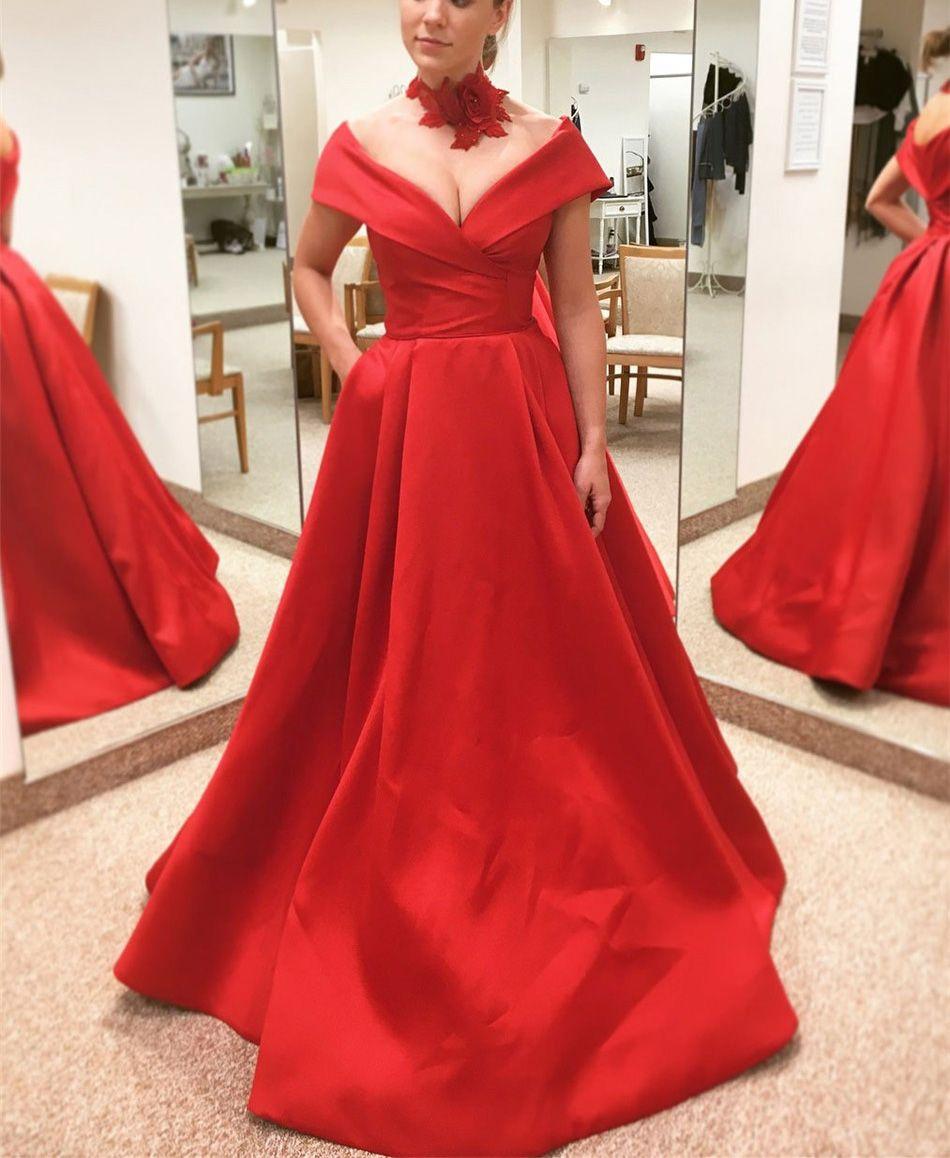 Großhandel Rote Lange Abendkleider Mit V Ausschnitt Aus Der Schulter Satin  A Linie Bodenlangen Einfache Abendkleider 10 High Quality Party Red