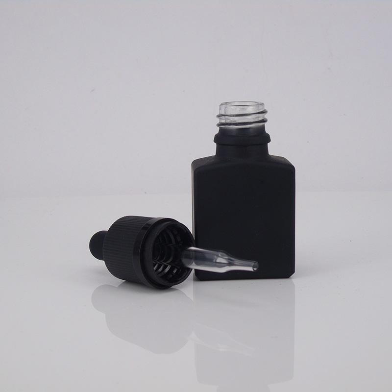 Empty Frost Black Square Glass Bottles With Childproof cap Glass Dropper bottle E-liquid rectangle for e liquid/smoke oil/essential oil