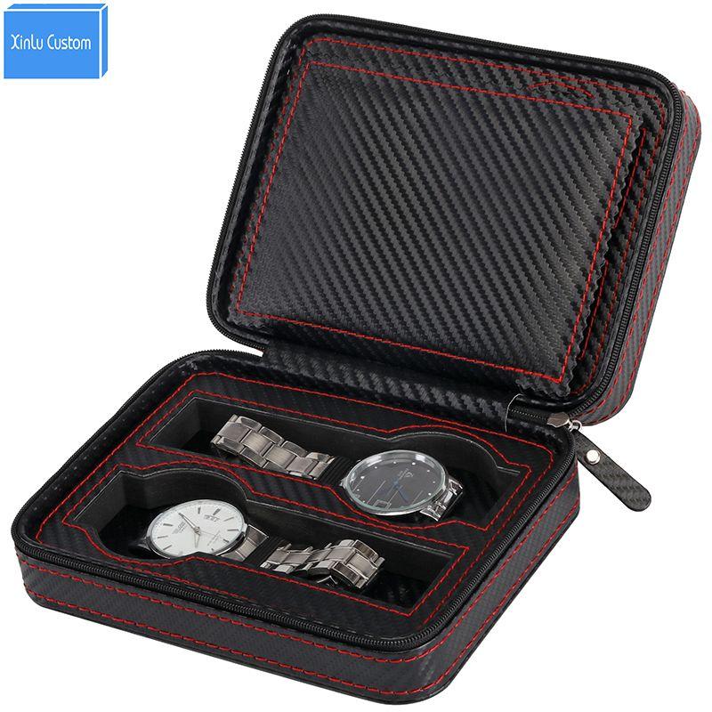 Watch Case Carbon Fiber Leather Red Sew Zipper Pocket Portable for Brand  Watch Box&Bag Watch Zippered Sport Watches Storage Case Organizer