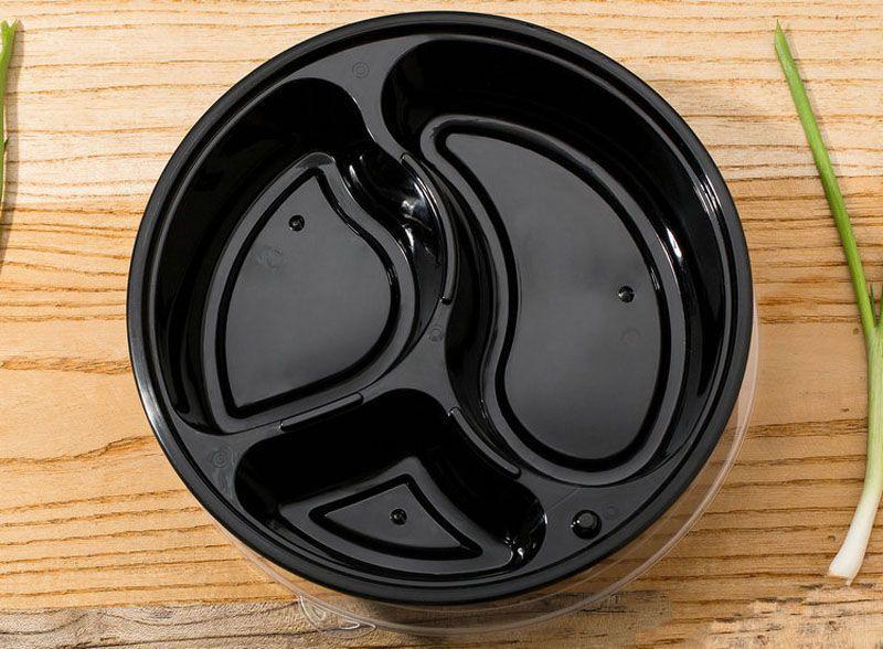 1000 ml Contenedores de Preparación de Comida Redonda Establecidos para Microondas 3 Departamentos Caja de Bento Caja de Almuerzo de Almacenamiento de Alimentos Tapas Caso ZA5997