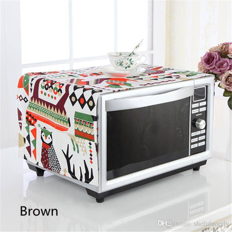 Microwave Oven Cover Cartoon Art Oil-proof Dustproof Safety Oven Cover Towel Pocket Storage Bag Home Kitchen Decoration 35*100cm