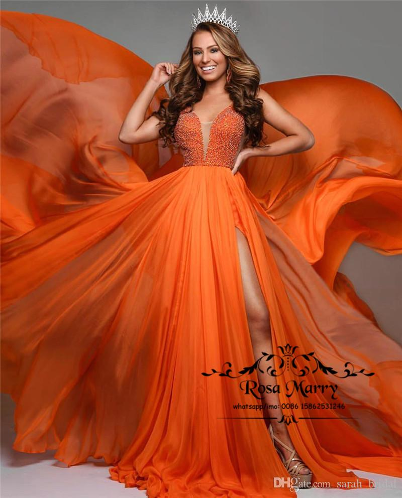 1280b3b1229 Sexy Orange Cheap 2018 Evening Prom Dresses A Line Plus Size Long Split Sequined  Beaded African Arabic Girls Pageant Formal Party Gowns Gowns Long Dresses  ...
