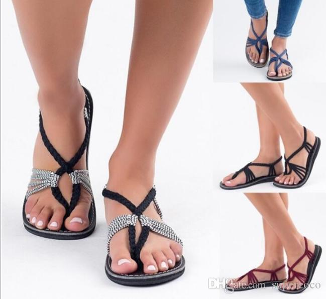 summer women Roman Sandals Straw fashion Flat Heel Flip-flops with flat SOLES Loosen the straps Sandals