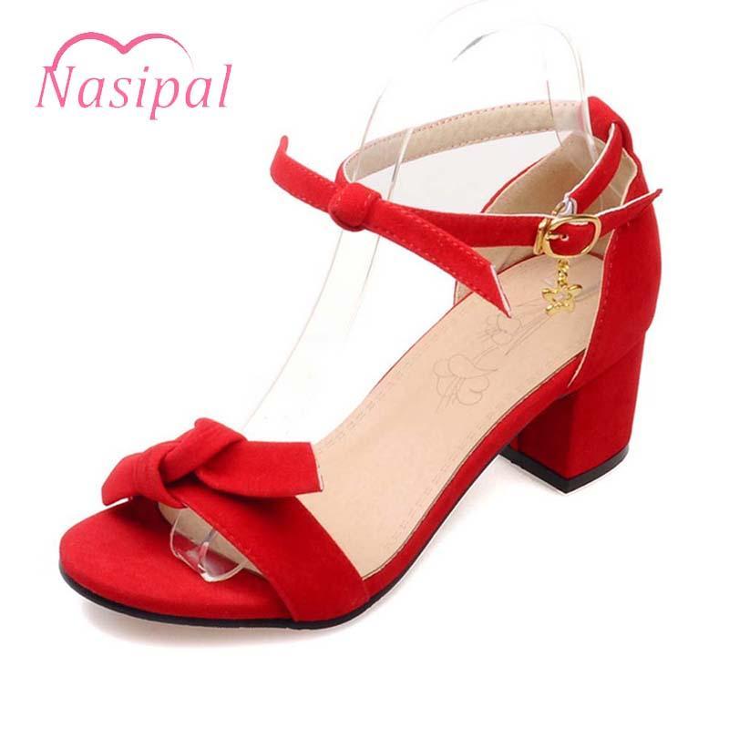 785584a1d Compre Venda Por Atacado Calçados Femininos Sapatos De Casamento Mulher  Zapatos Mujer Preto Vermelho Saltos Grossos Sandálias Bow Tie Tornozelo  Cinta ...