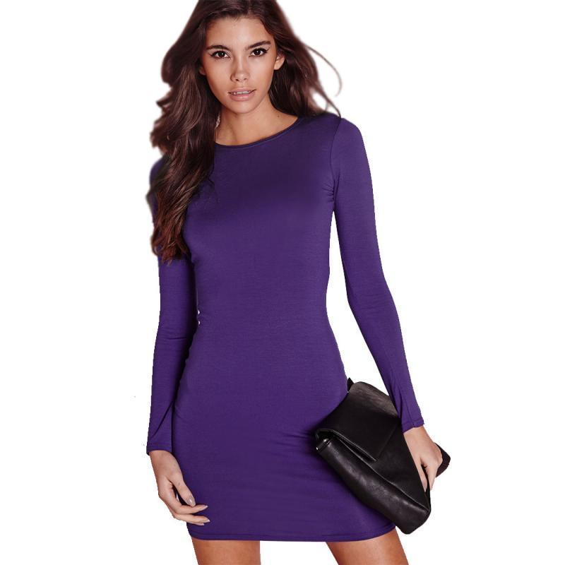 a01098a4cb Good Quality Women Long Sleeve Slim Pencil Dresses Pure Color Elegant  Cotton Maxi Bodycon Dress Bottoming Dress Graduation Maxi Dresses Summer  Dresses ...