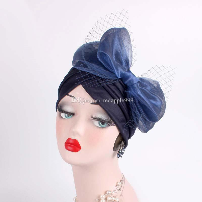 Fascinators Hats Womens ruffle turban Headwear with big Veil bowknot Cocktail Wedding Tea Party Hat turbante hair accessories