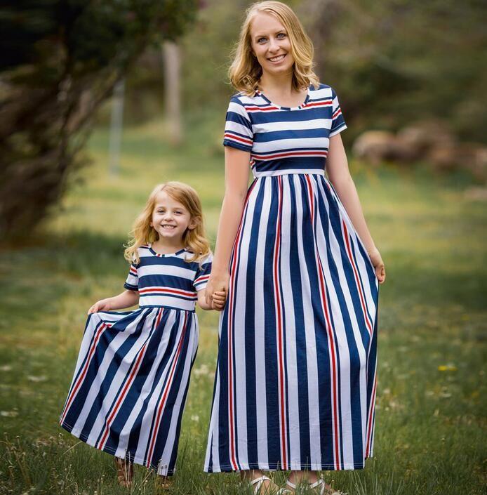 54d5b2ed7d1f 2018 Wish Amazon New Summer Spring Stripe Splicing Parent Child ...