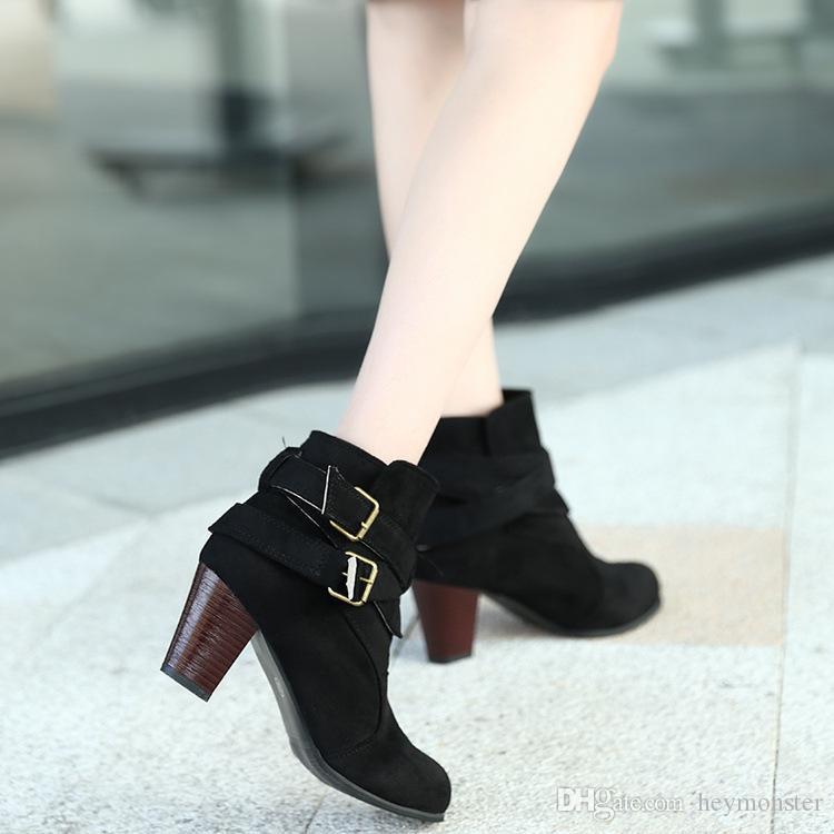 ecb54670b46 Platform Heels Women Ankle Boots Soft Leather Thick High Heel ...