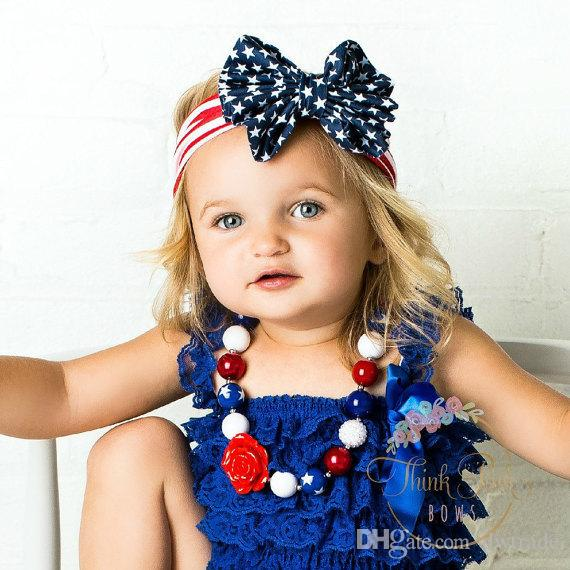 Mother Daughter Mathching Headbands Hair Accessories for Women Baby Girl Headbands July 4th Cheer Bows American Indepence Day Dresses