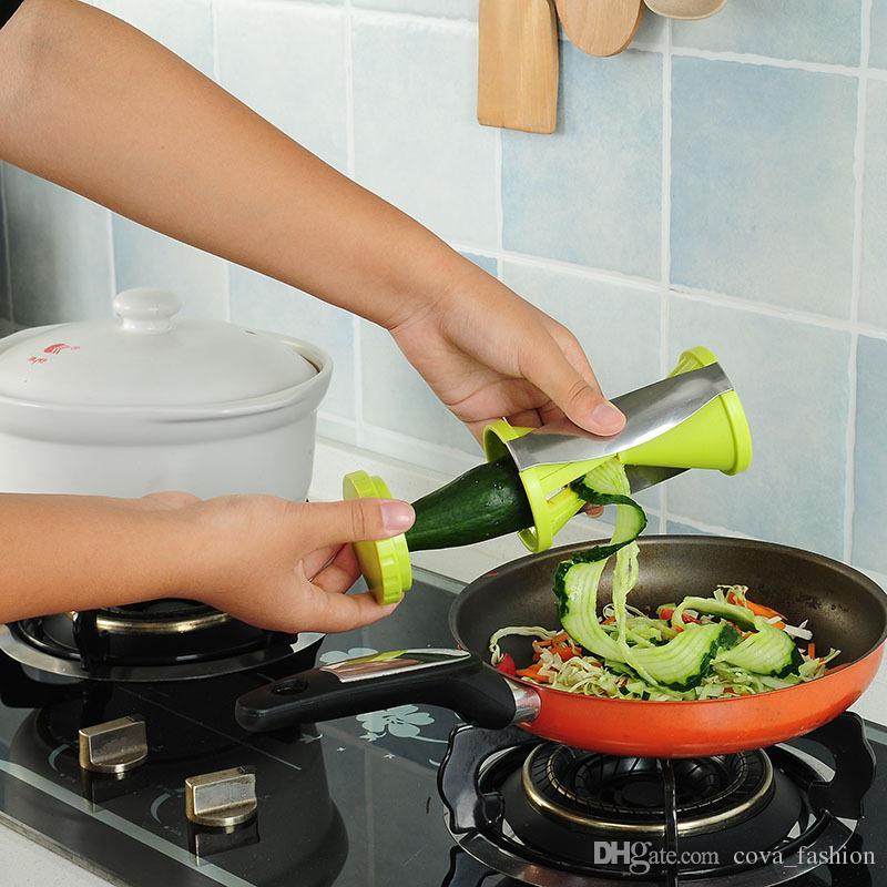 Fruta y Vegetales Espiral Slicer Zanahoria Pepino Rallador Cortador Embudo Forma Pelador de Vegetales Accesorios de Cocina Venta Caliente