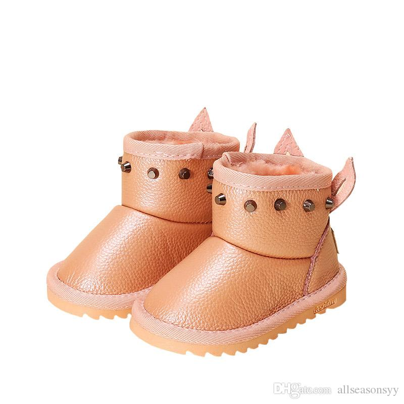 bded675b2183c Winter Children s Boots Waterproof 2018 New Fashion Rivet Rabbit Ear ...