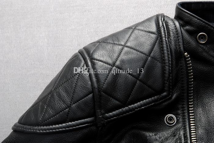 2018 Stamped crânio cabeça gola brilho mastermind 100% jaquetas de couro genuíno com zíper YKK Homens jaqueta de couro