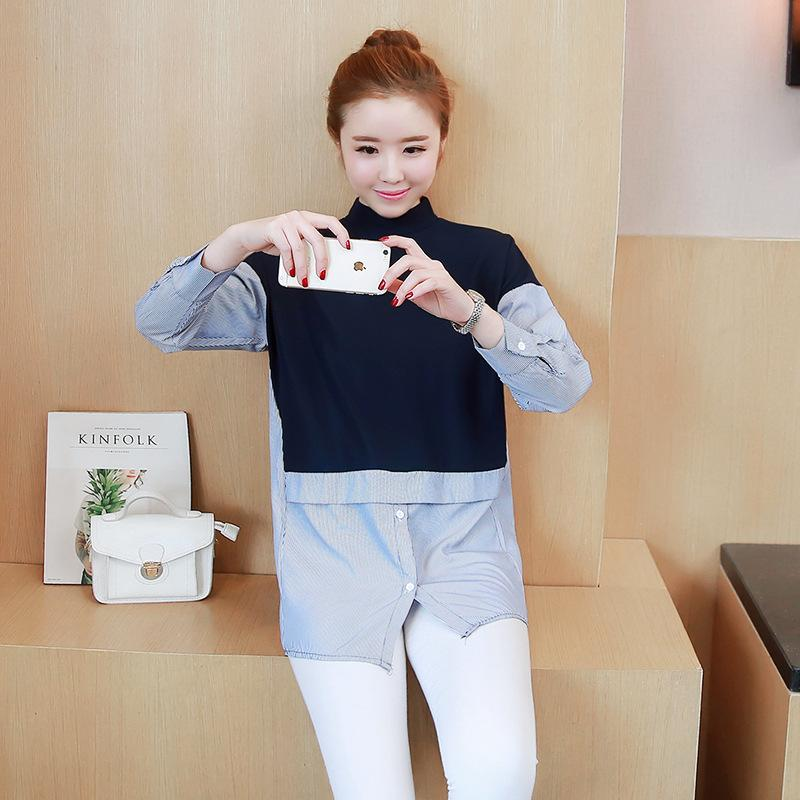 2018 2017 Autumn Spring Maternity Clothes Long T Shirt Buttons O Neck Clothes Pregnancy Women Full Sleeves Clothing Blue White 2xl From Rainbowny