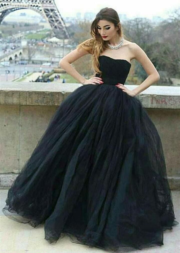 Black Strapless Ball Gown Prom Dress Sleeveless Backless Floor ...