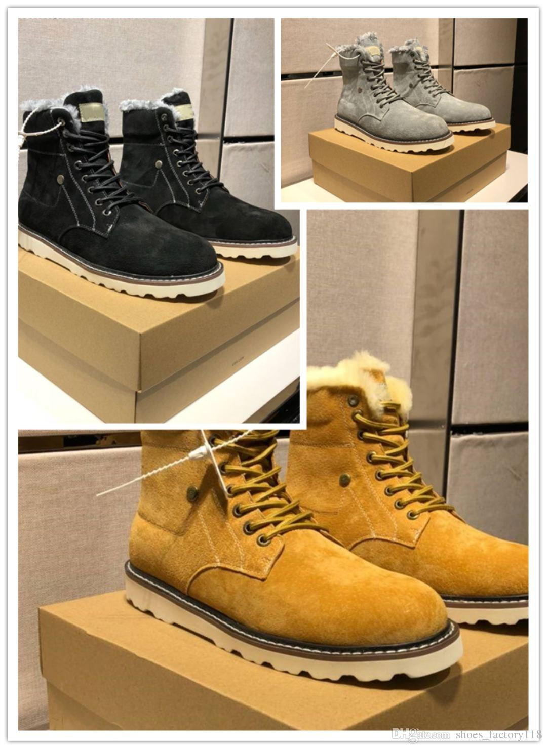 Brand designer shoes High quality grind sand vamp Warm and comfortable Men's fashionable comfortable flat boots