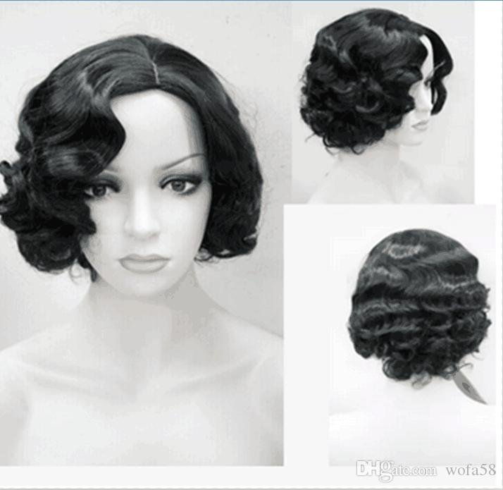 Fashion Women Short Wavy Hairstyle Black Color Synthetic Hair